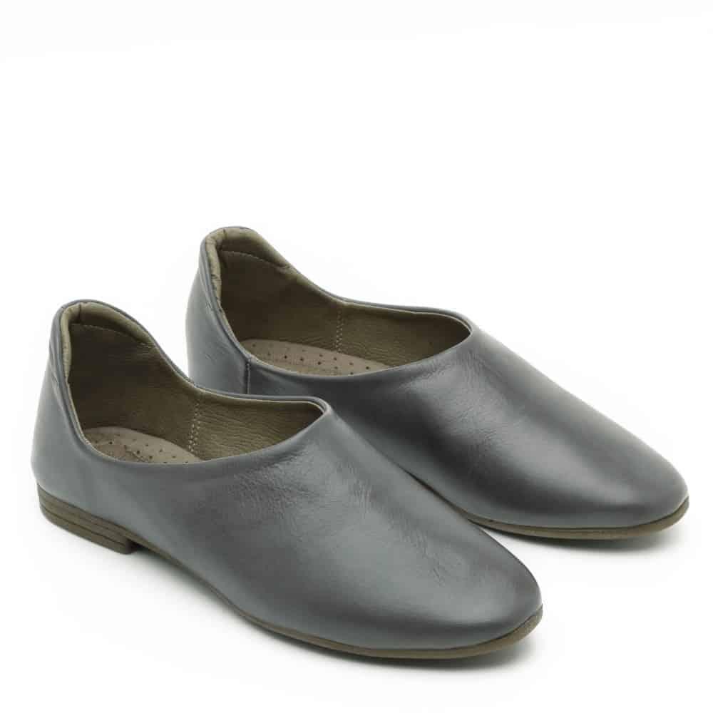נעלי בלרינה אפורות שטוחות - דגם יהל 3363