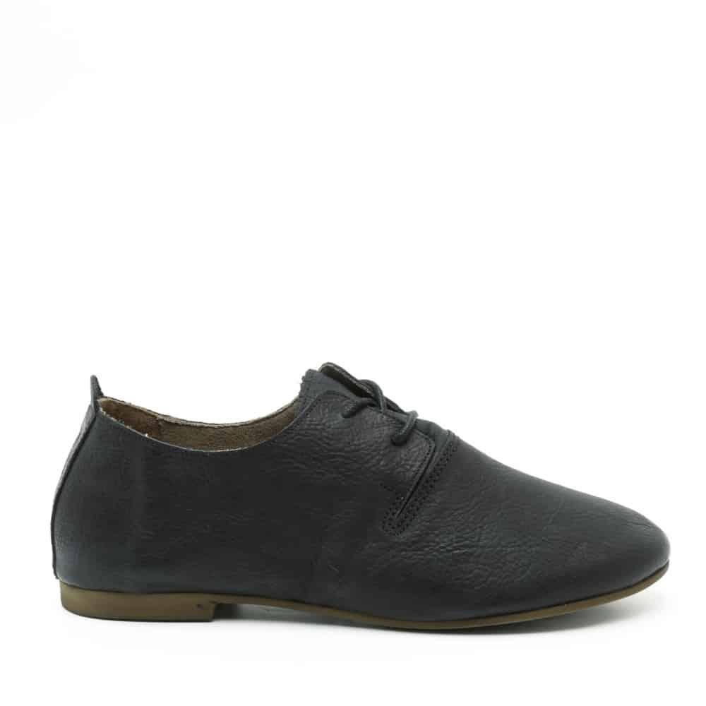 נעל נוחות שטוחה מעור בשחור - דגם תהילה 1586 - מבט צד