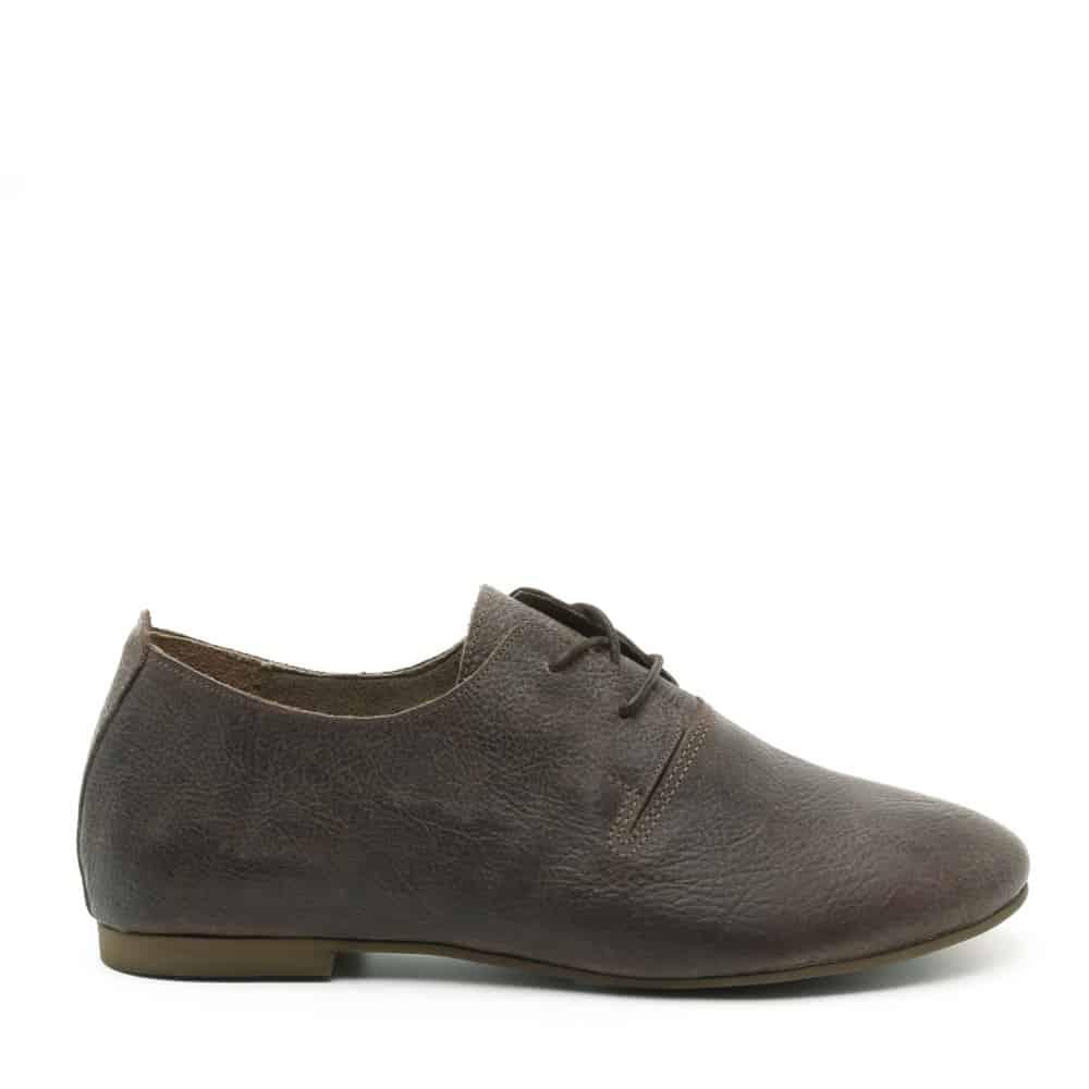 נעל נוחות חומה ושטוחה מעור - דגם תהילה 1586 - מבט מהצד