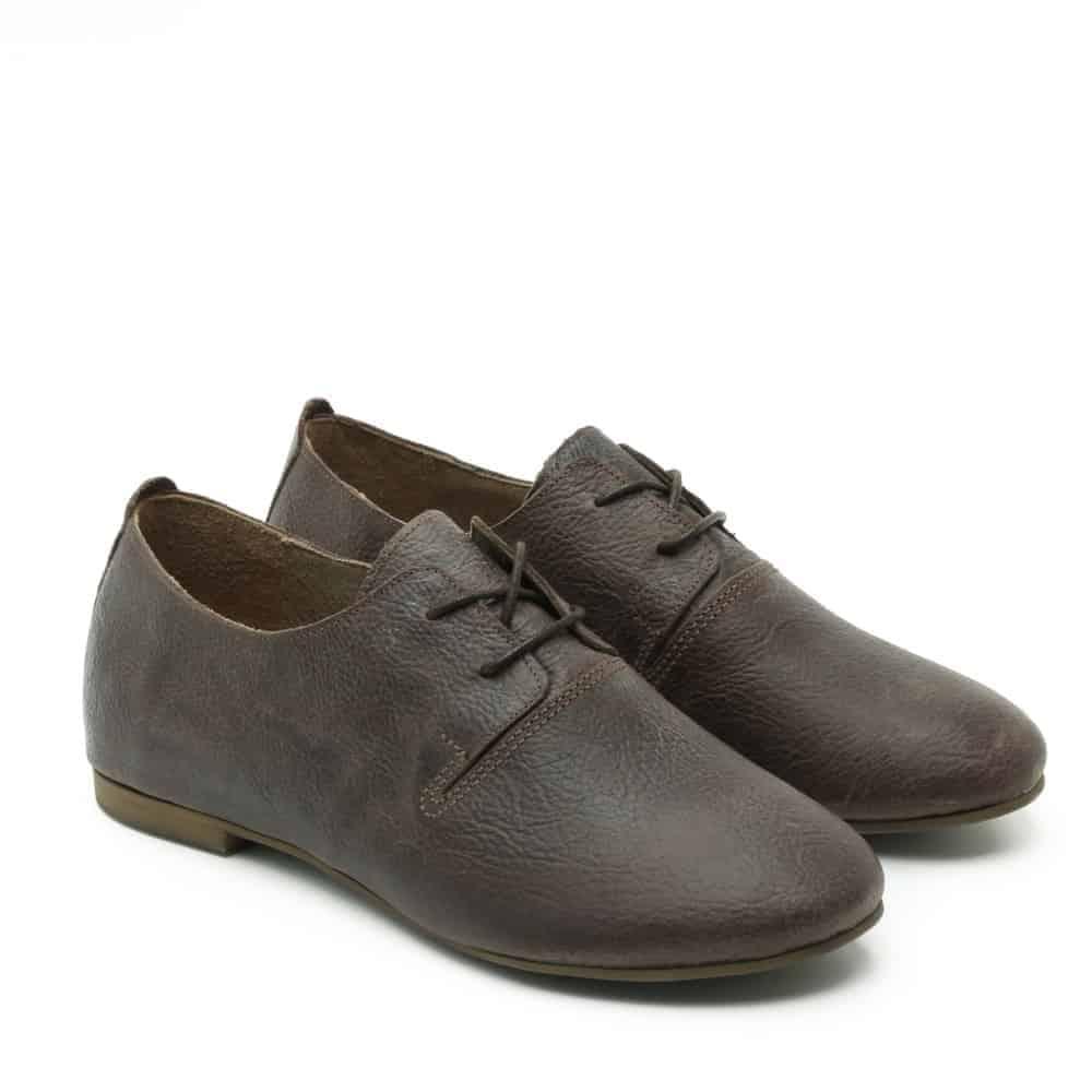 נעל נוחות שטוחה מעור בחום - דגם תהילה 1586