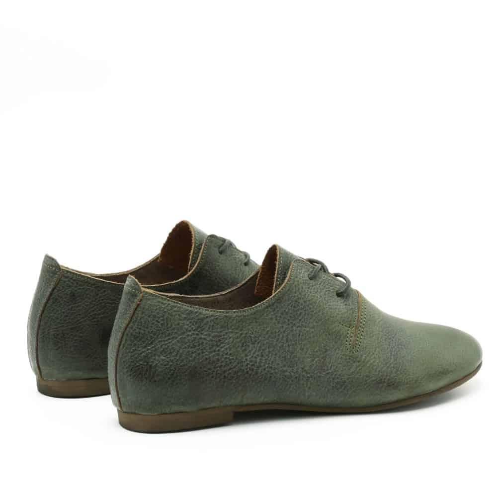 נעל נוחה ושטוחה מעור בגוון זית - דגם תהילה 1586
