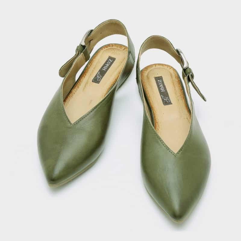 נעלי בלרינה לנשים צבע זית - דגם טלי 8896
