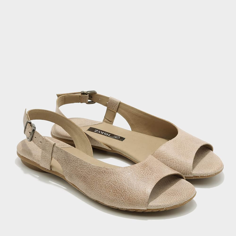 נעלי סירה פתוחות לנשים בצבע טאופ - דגם היילי 3920