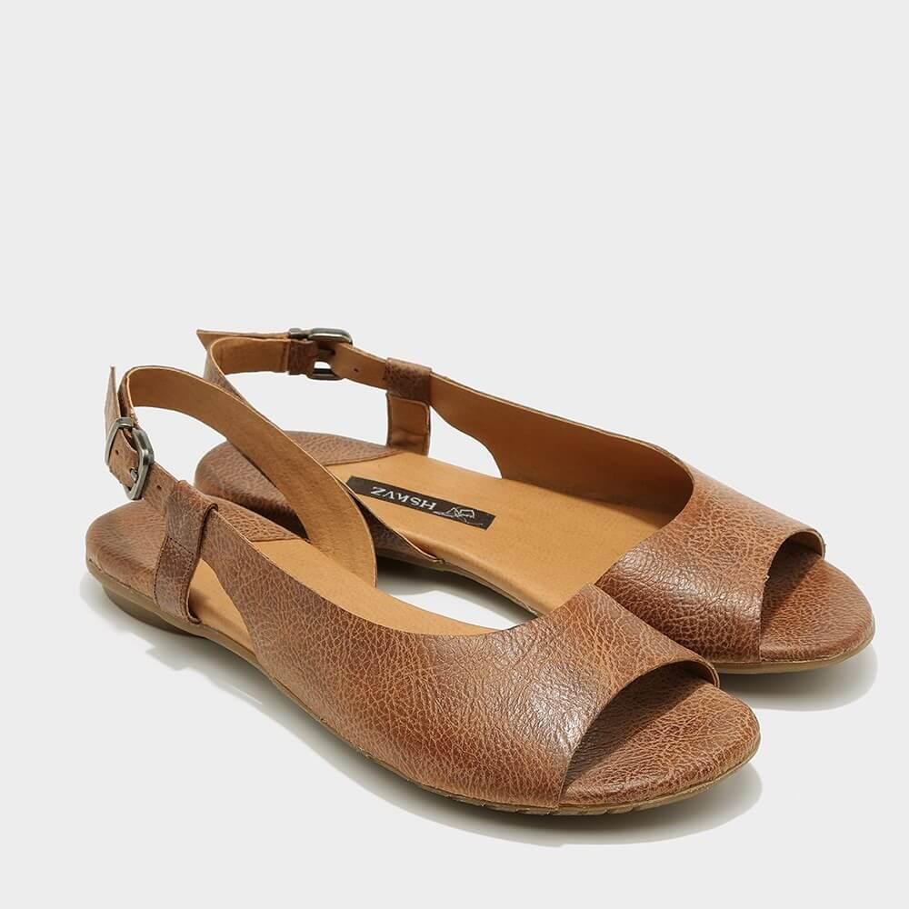 נעלי סירה פתוחות לנשים בגוון כאמל - דגם היילי 3920