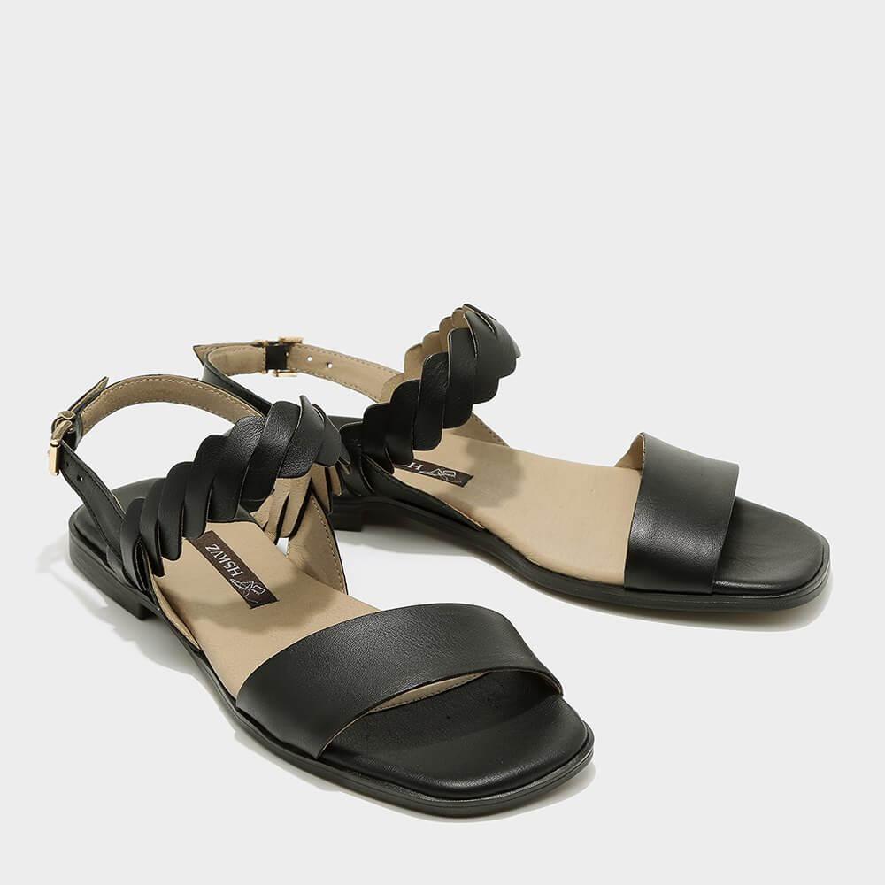 סנדלים שטוחים קלאסיים לנשים בצבע שחור - דגם ריבי 3931