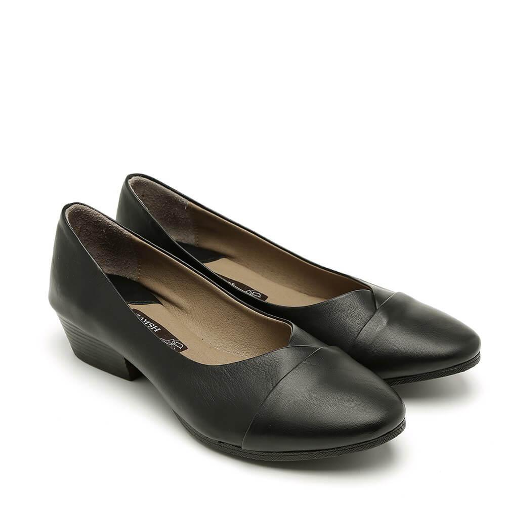 נעלי סירה שחורות עם עקב - דגם יערה 84418