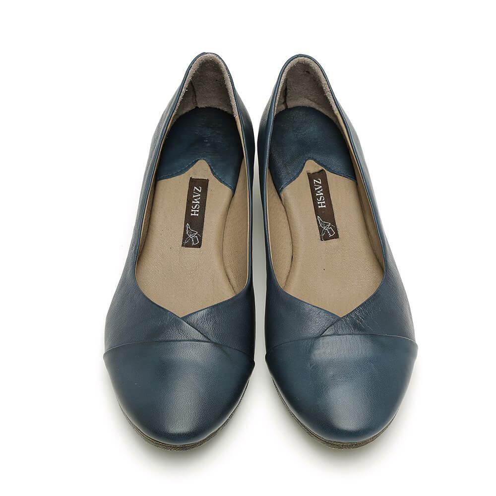 נעלי סירה כחולות עם עקב - דגם יערה 84418