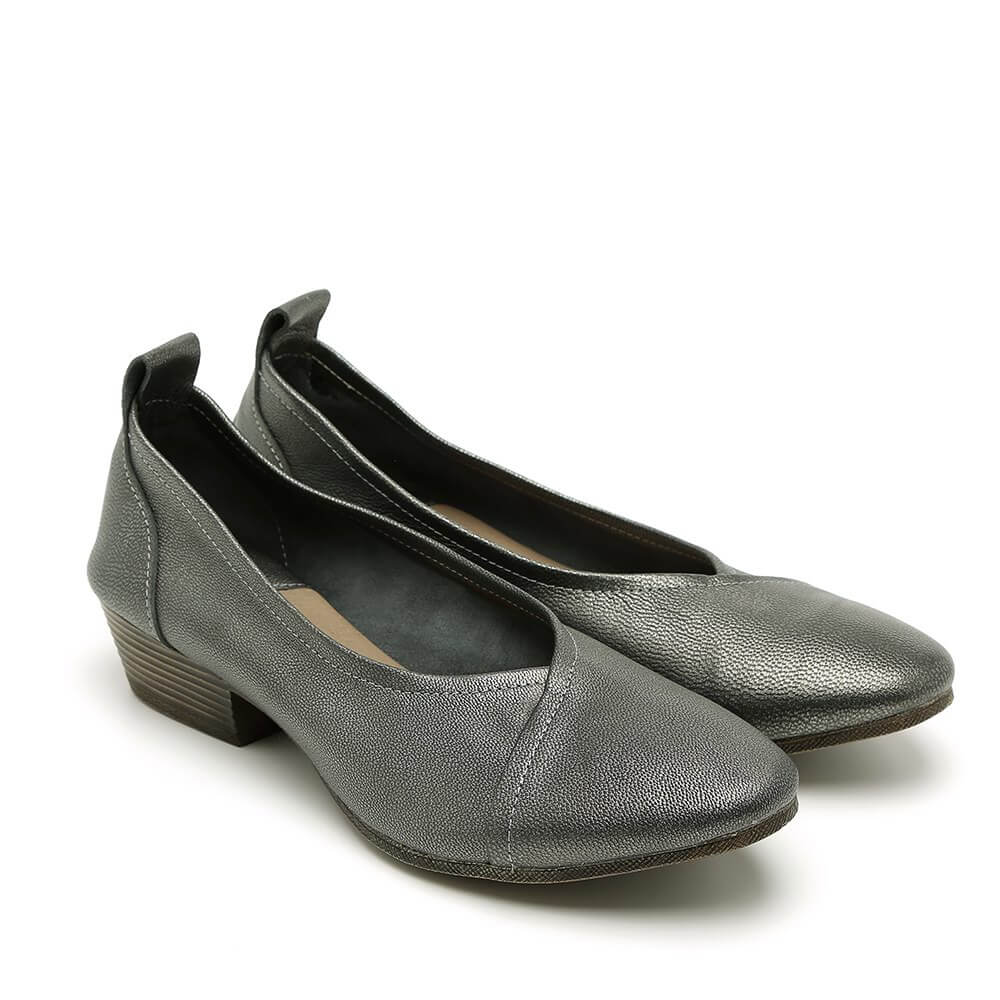 נעלי סירה מעור עם עקב לנשים בצבע פיוטר - דגם טופז 84436