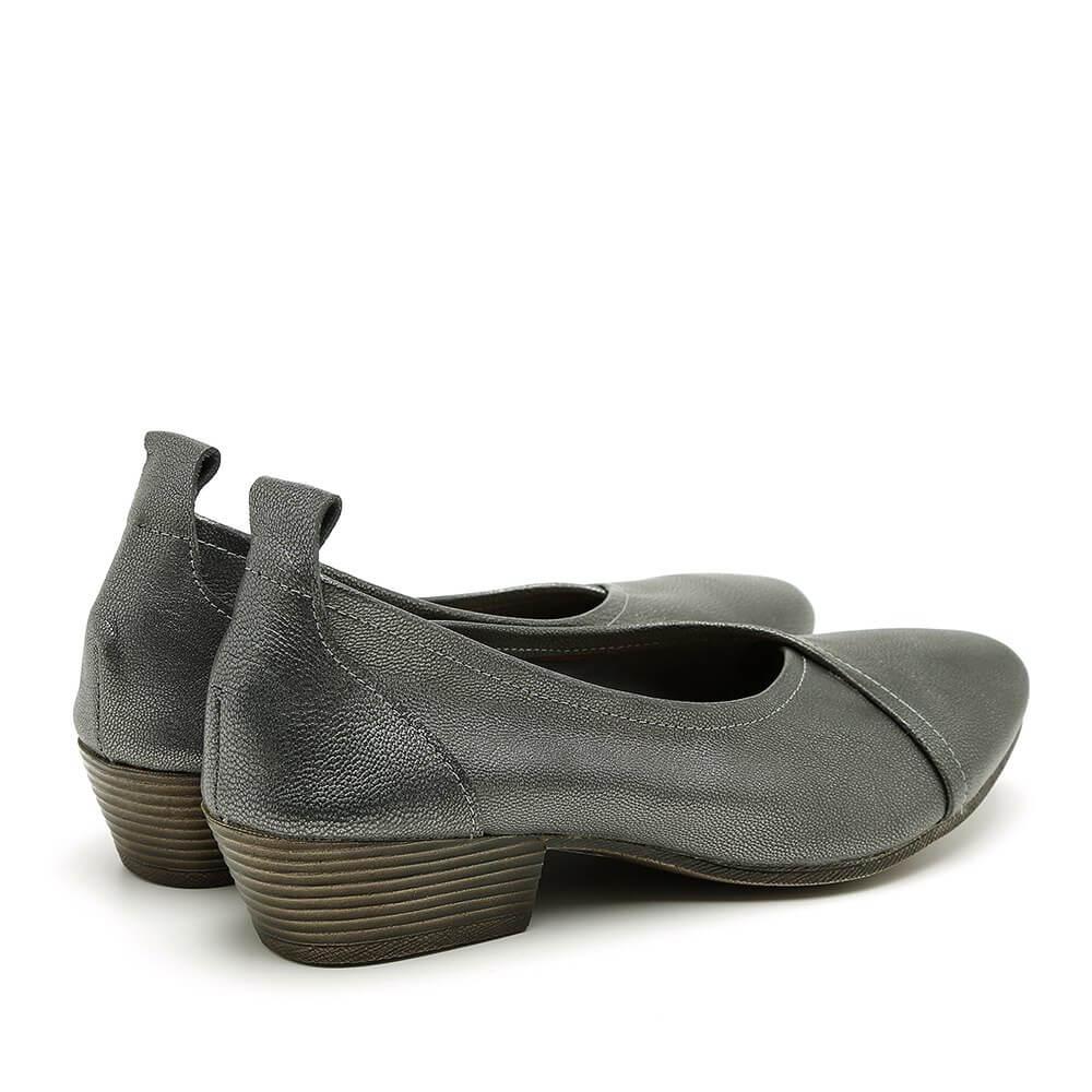 נעלי סירה לנשים עם עקב בצבע פיוטר - דגם טופז 84436