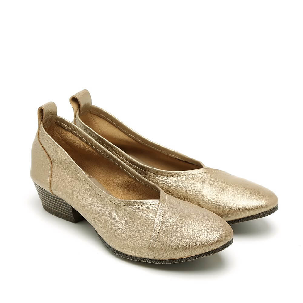 נעלי סירה מעור לנשים צבע זהב - דגם טופז 84436