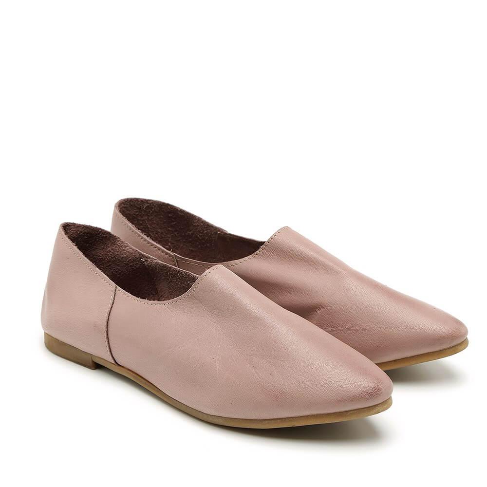 נעל בלרינה שטוחה וקלאסית בצבע ורוד - דגם נגה 8890