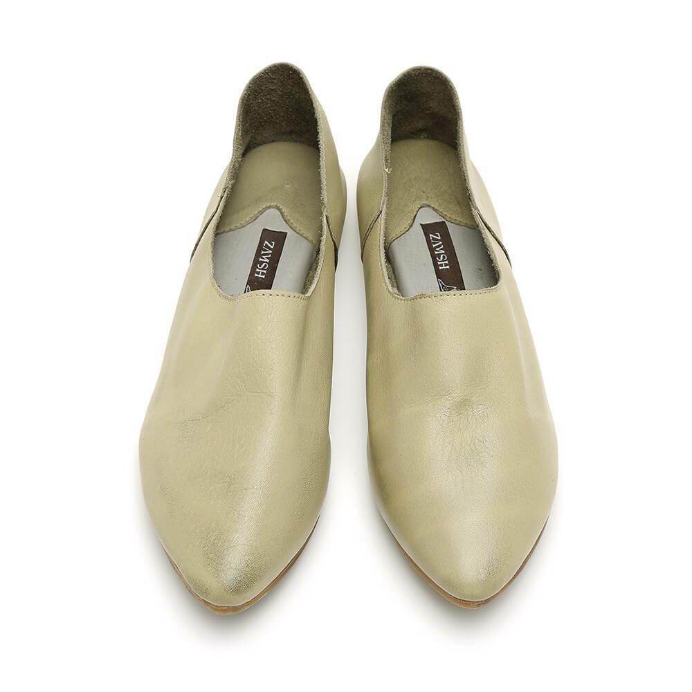 נעל בלרינה ירוקה ושטוחה בסגנון קלאסי - דגם נגה 8890