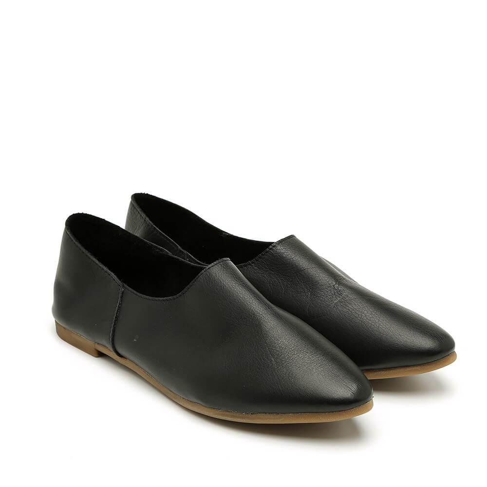 נעל בלרינה שחורה וקלאסית עם עקב שטוח - דגם נגה 8890