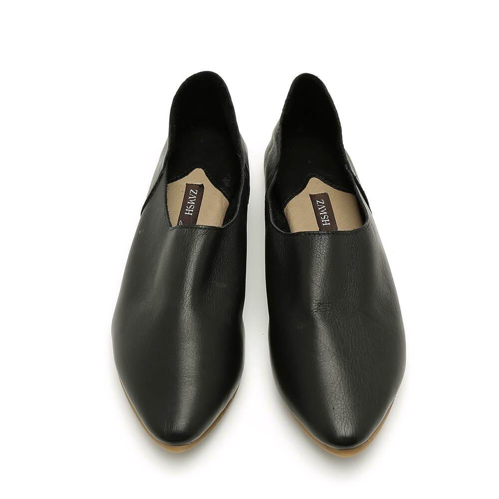 נעל בלרינה קלאסית בצבע שחור עם עקב שטוח - דגם נגה 8890