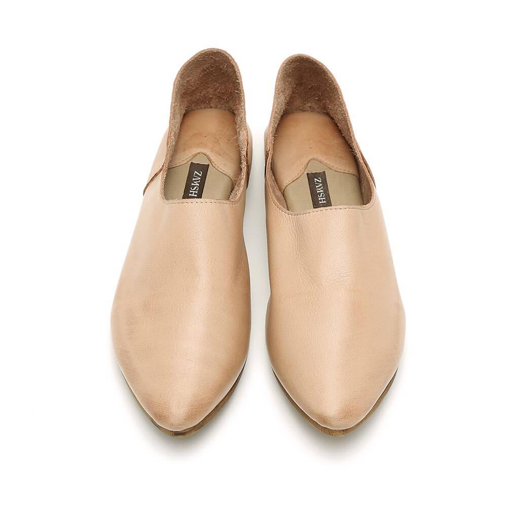 נעל בלרינה שטוחה קלאסית בצבע בז' - דגם נגה 8890