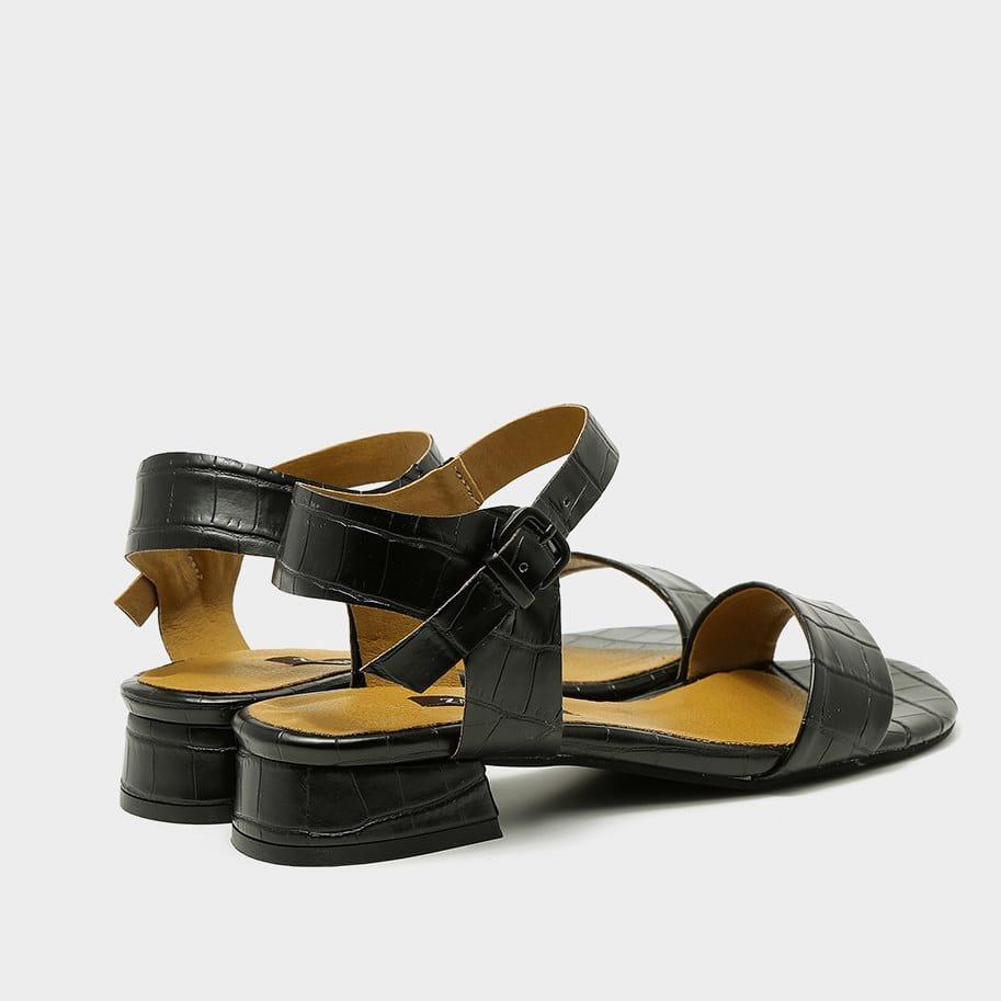 סנדל שחור לנשים דמוי נחש - דגם רון 53682