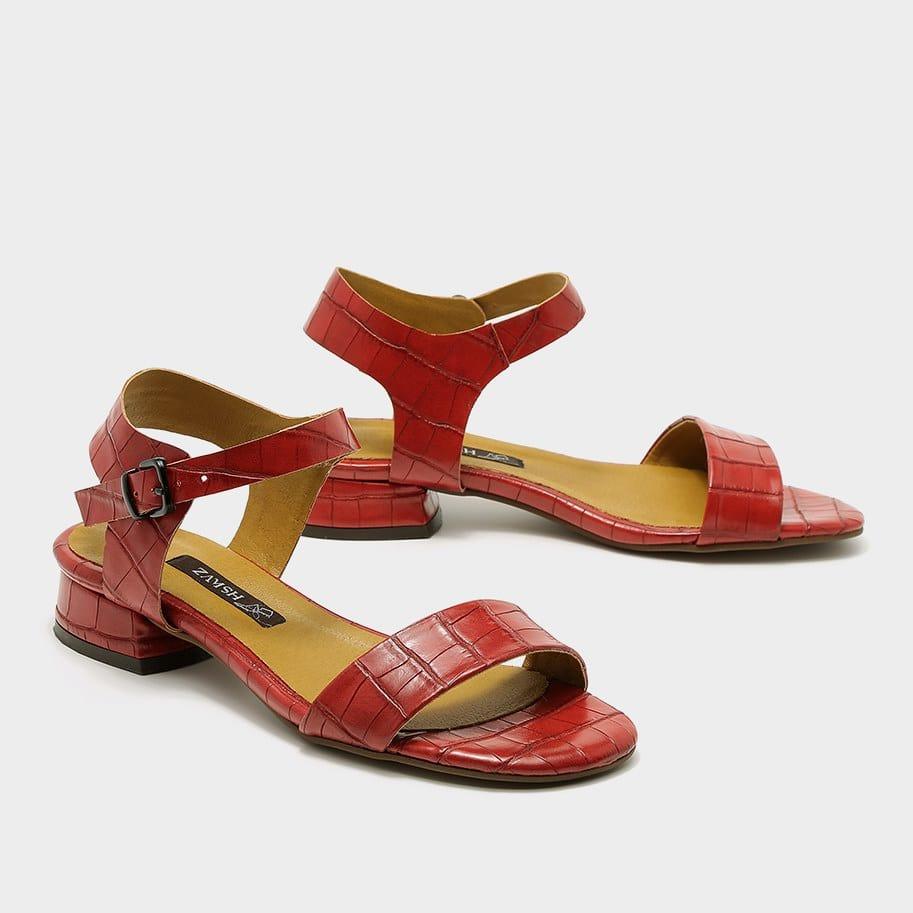 סנדל אדום לנשים דמוי נחש - דגם רון 53682