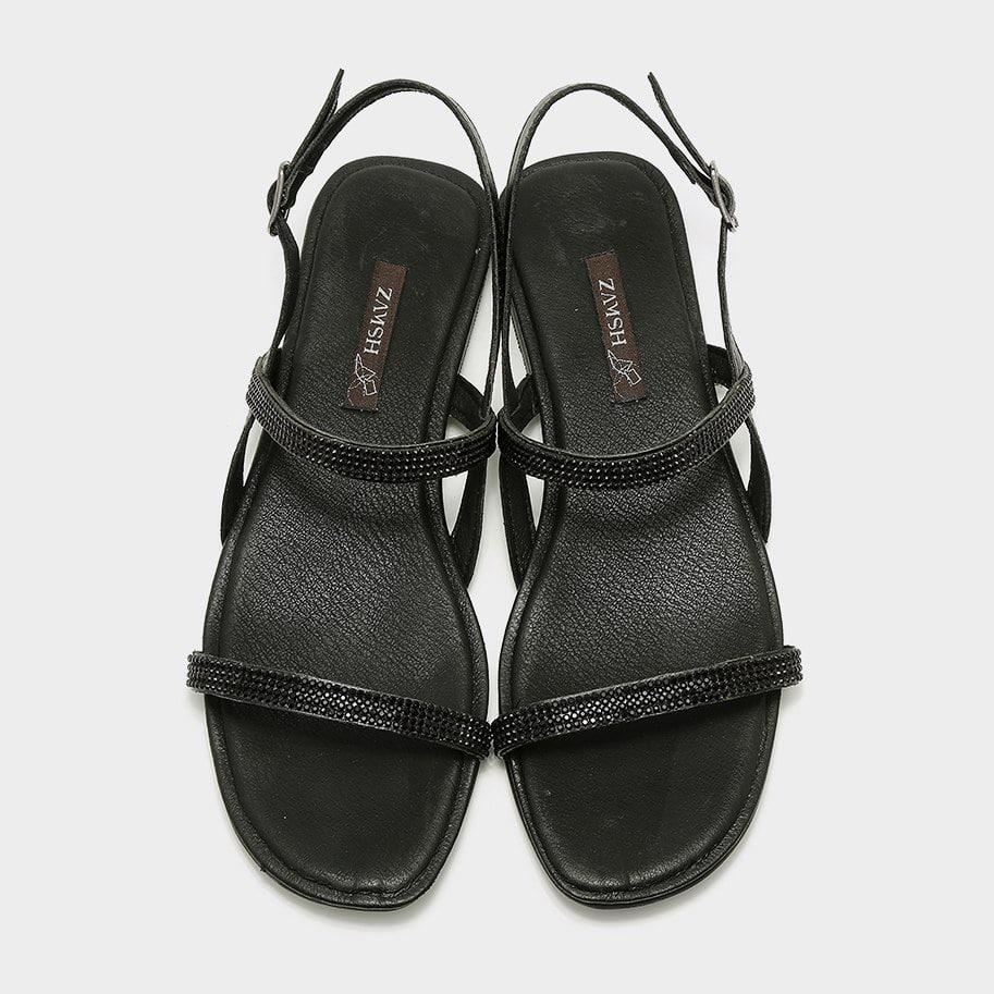סנדלים טבעוניות שחורות מנצנצות - דגם גל 5352