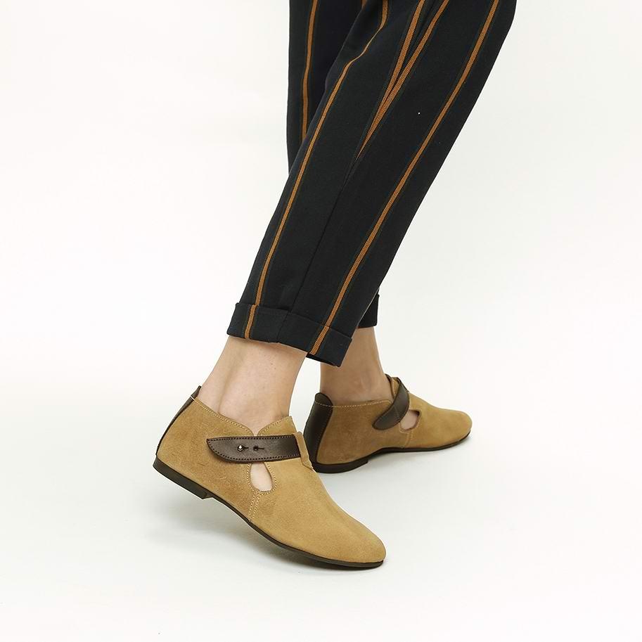 נעליים שטוחות מעור עם רצועה קדמית – דגם אופל